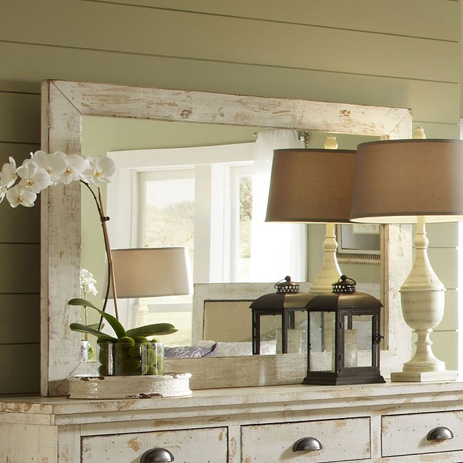 Willow Mirror (Distressed White) By Progressive Furniture
