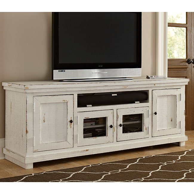 Bon Willow 74 Inch Entertainment Console (Distressed White)