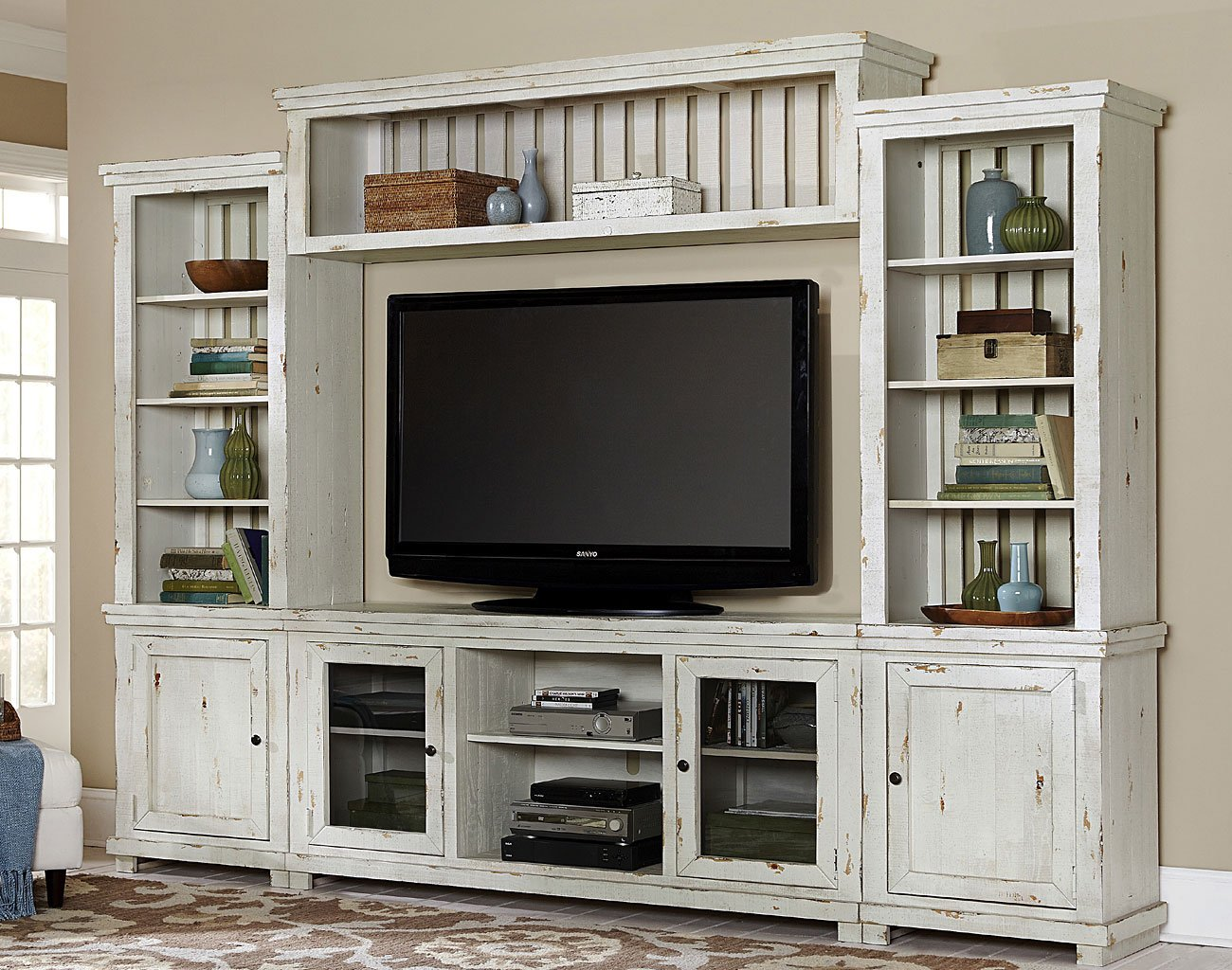 Willow Entertainment Wall Distressed White