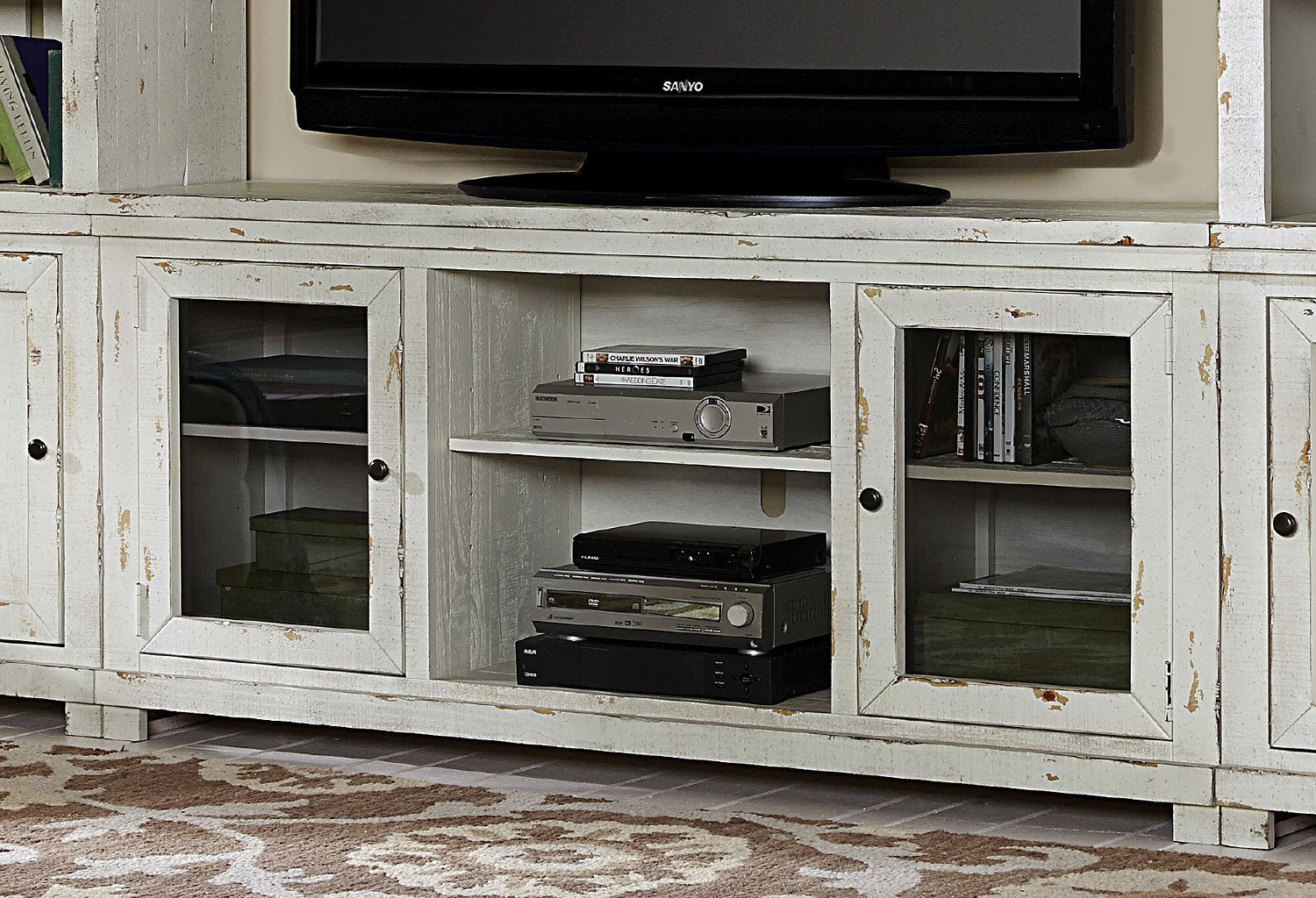 Willow 68 Inch Console (Distressed White)