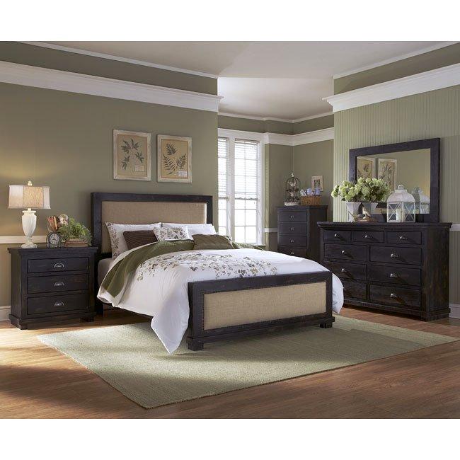 Willow Upholstered Bedroom Set Distressed Black