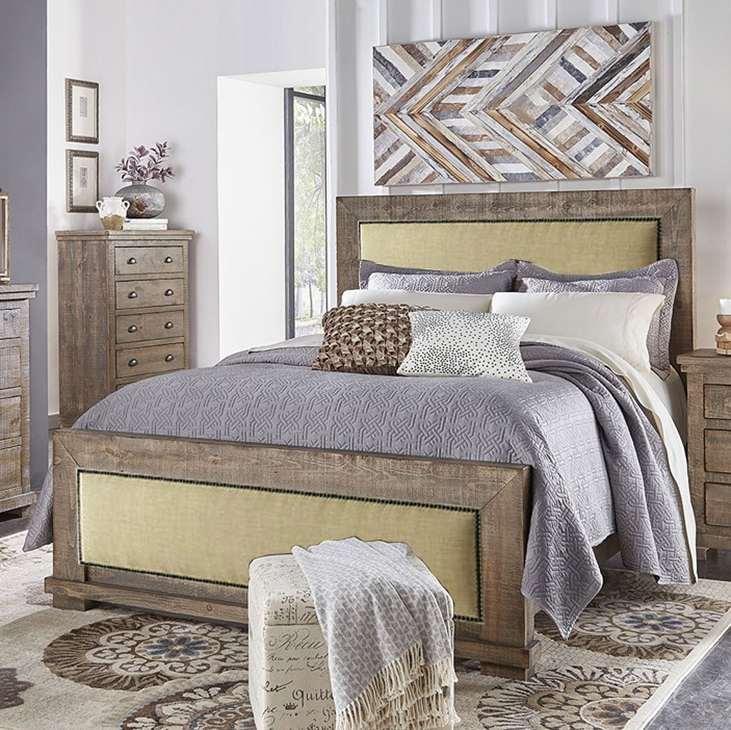 Willow Upholstered Bedroom Set Weathered Grey