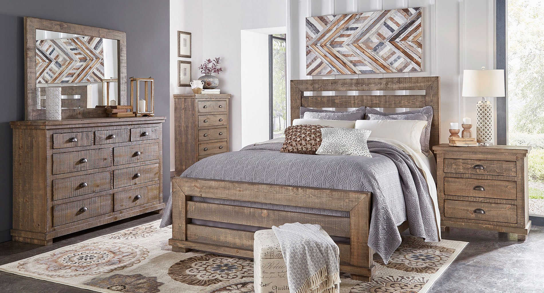Willow Slat Bedroom Set Weathered Grey Progressive