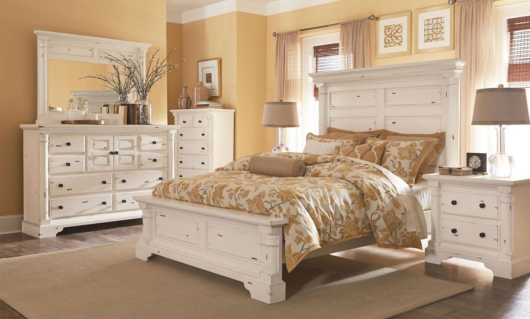 Gramercy Park Panel Bedroom Set (Aged White) Progressive Furniture ...
