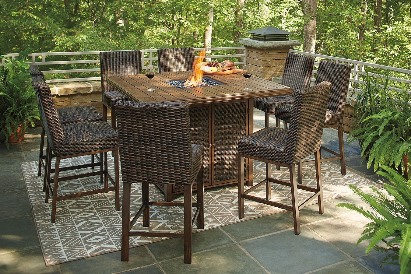 Surprising Paradise Trail Outdoor Fire Pit Bar Table Set Home Interior And Landscaping Spoatsignezvosmurscom