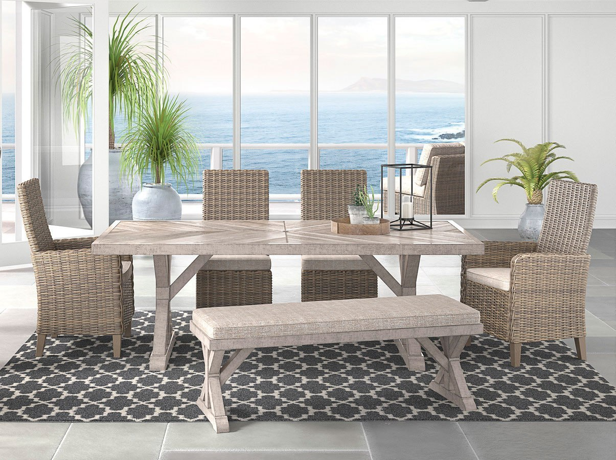 Beachcroft Outdoor Dining Set w/ Bench