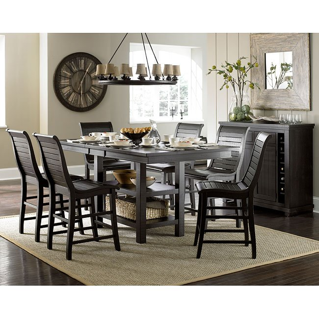 Willow Rectangular Counter Height Dining Set (Distressed Black)