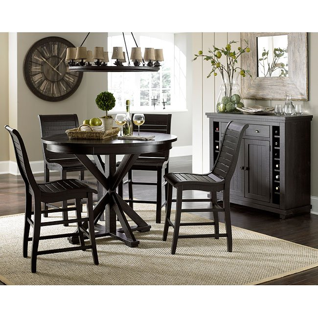 Black Round Dining Table Set: Willow Round Counter Height Dining Set (Distressed Black