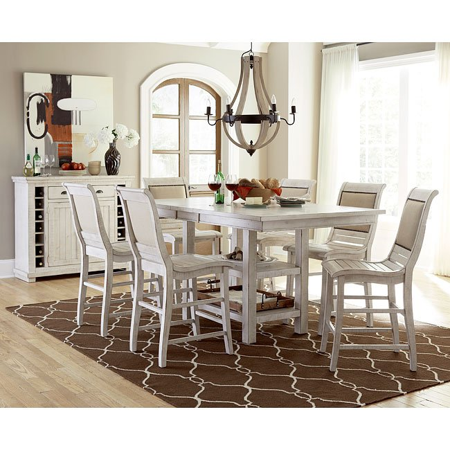 Willow Rectangular Counter Dining Set w/ Uph Chairs (Distressed White)