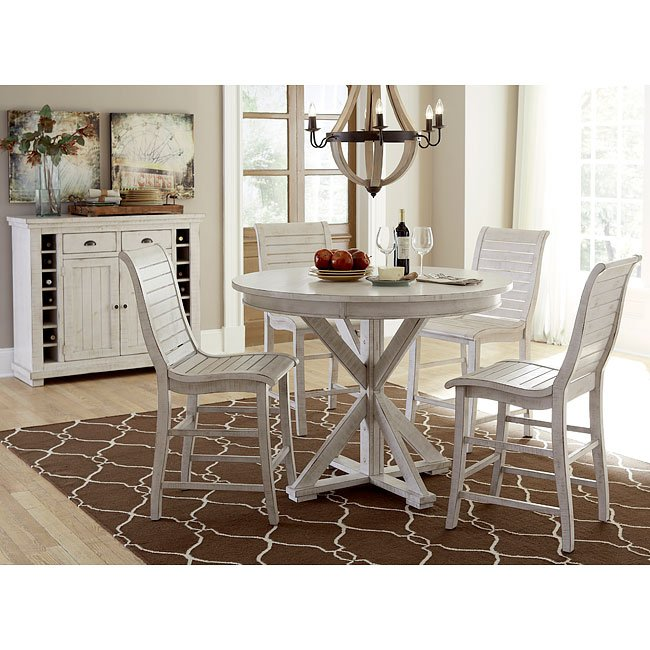 Willow Round Counter Height Dining Set (Distressed White)