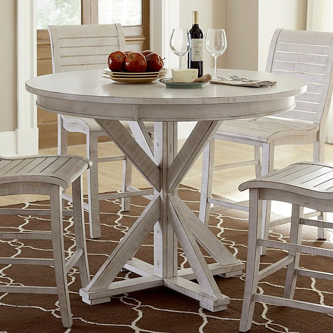 Willow Round Counter Height Table (Distressed White