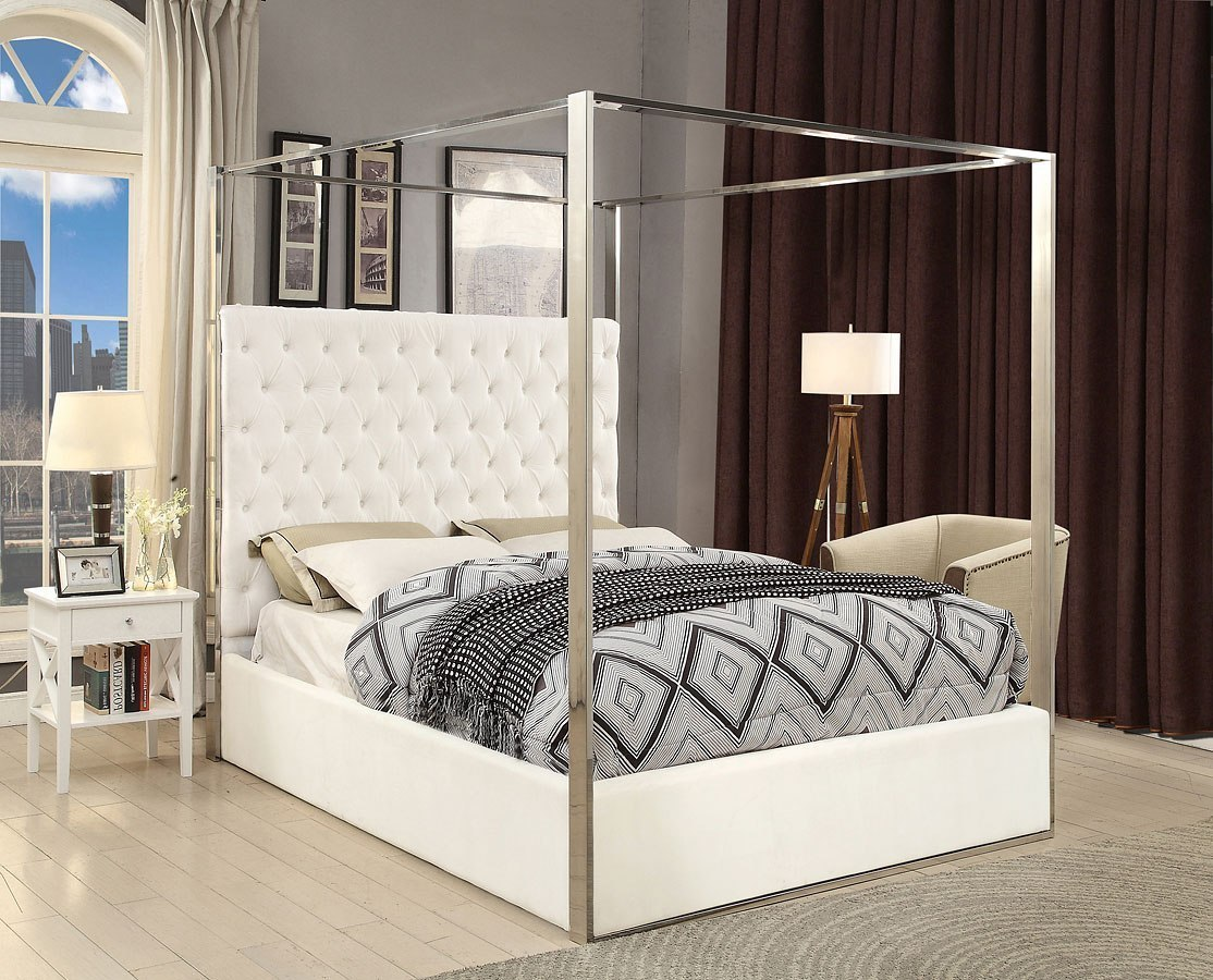 - Porter Upholstered Platform Canopy Bed (White) Meridian Furniture