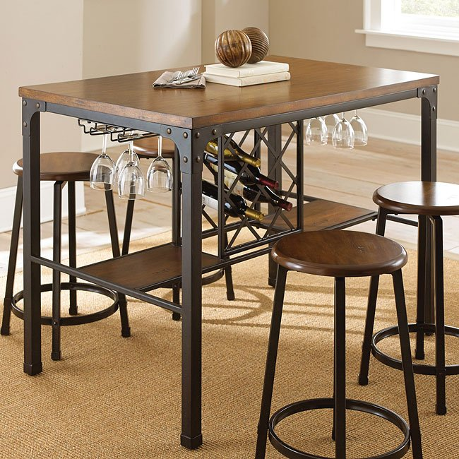 Rebecca Counter Height Table W Wine Storage Steve Silver Furniture