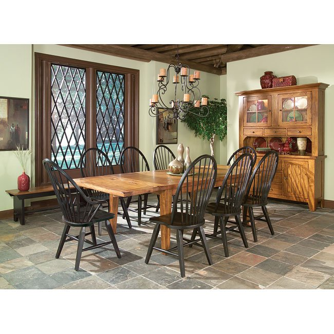 Rustic Dining Room Set: Rustic Traditions Dining Room Set W/ Black Chairs Intercon