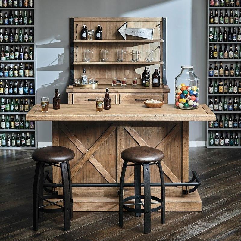 Furniture City Brewing Blonde House Bar Set w/ Whiskey Barrel Stools