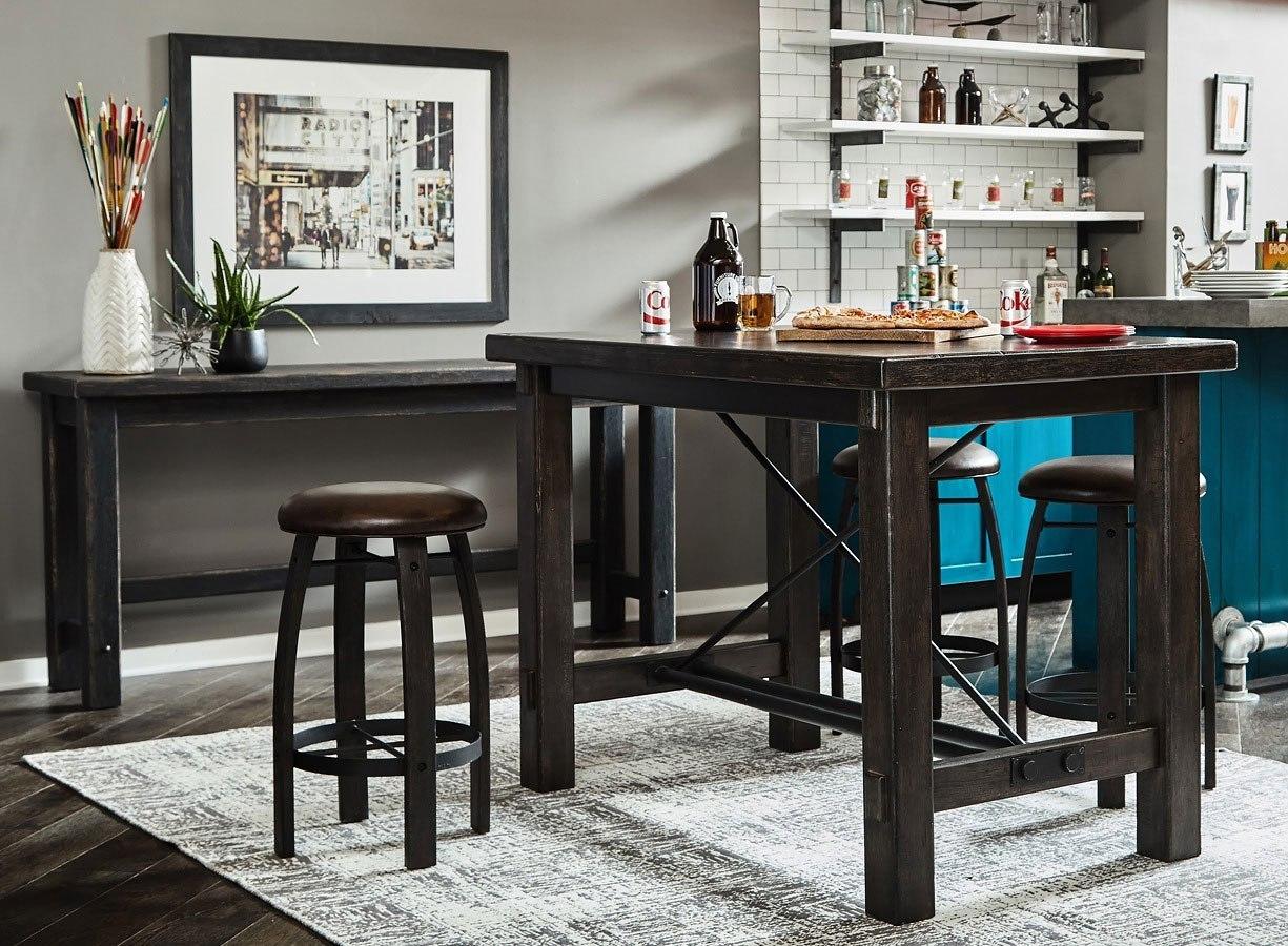 Furniture City Brewing Stout Trestle Bar Set w/ Whiskey Barrel Stools