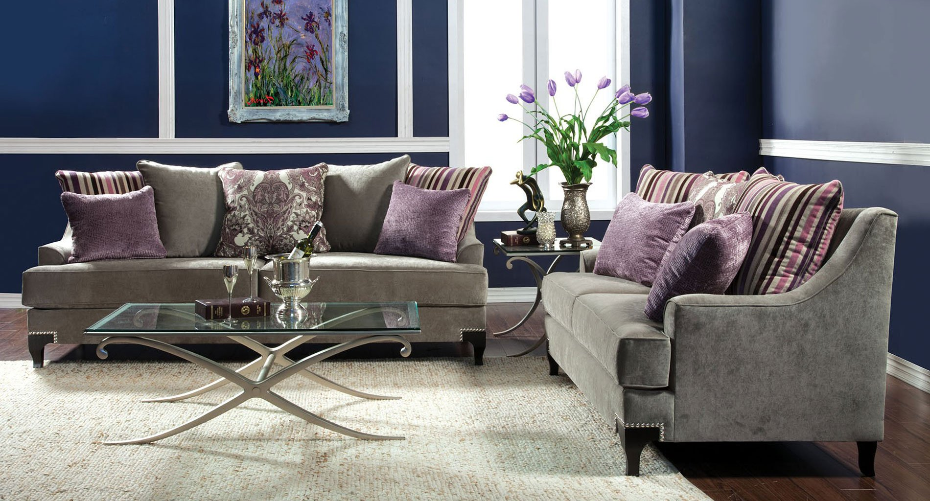 Viscontti Living Room Set Gray Furniture Of America 1 Reviews Furniture Cart