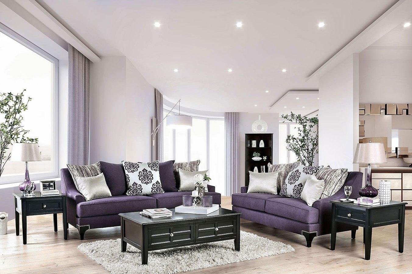 Sisseton Living Room Set (Purple) Furniture Of America