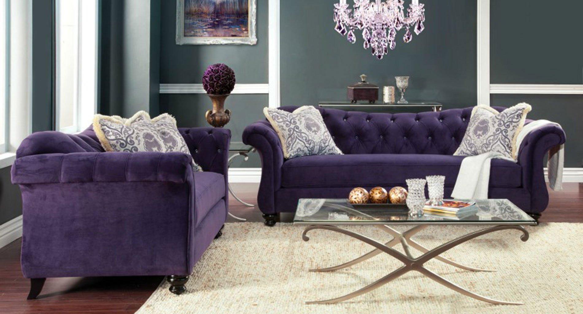 Antoinette Living Room Set (Purple) Furniture Of America