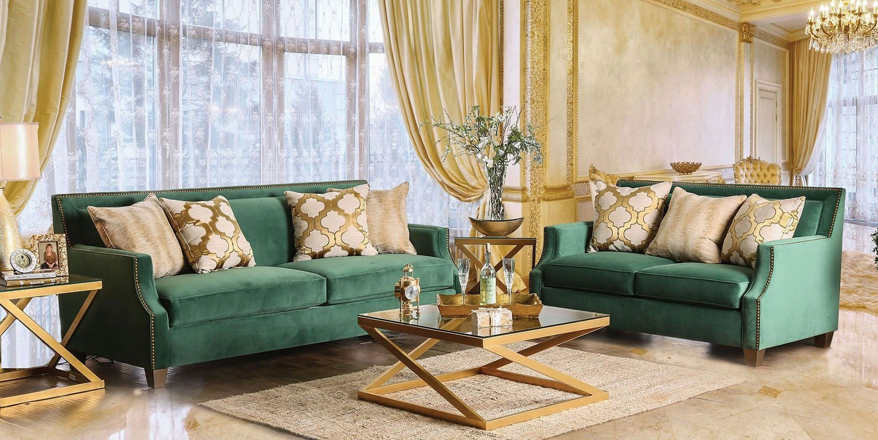 Verdante Living Room Set (Emerald Green)