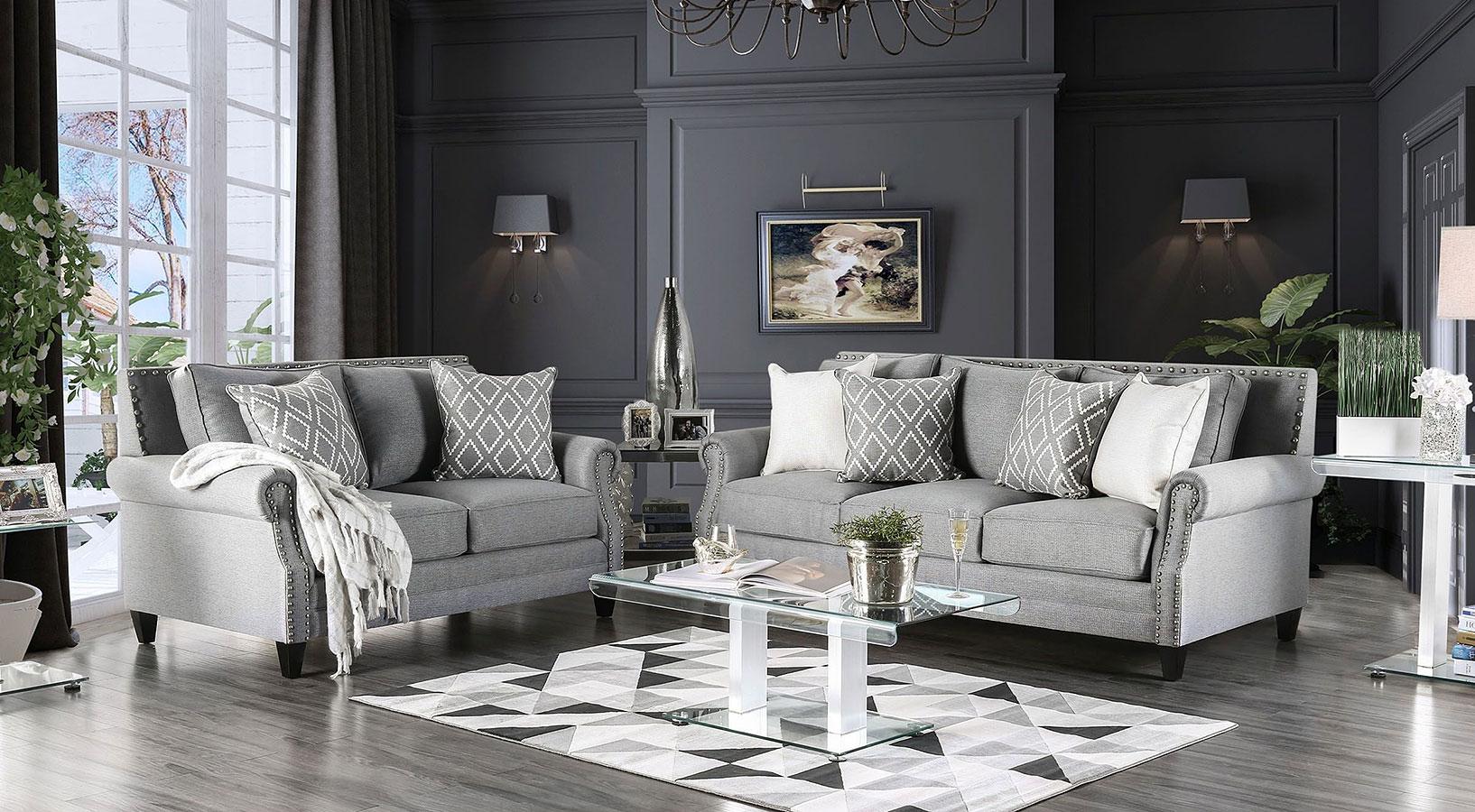 Giovanni Living Room Set (Grey) Furniture Of America, 1