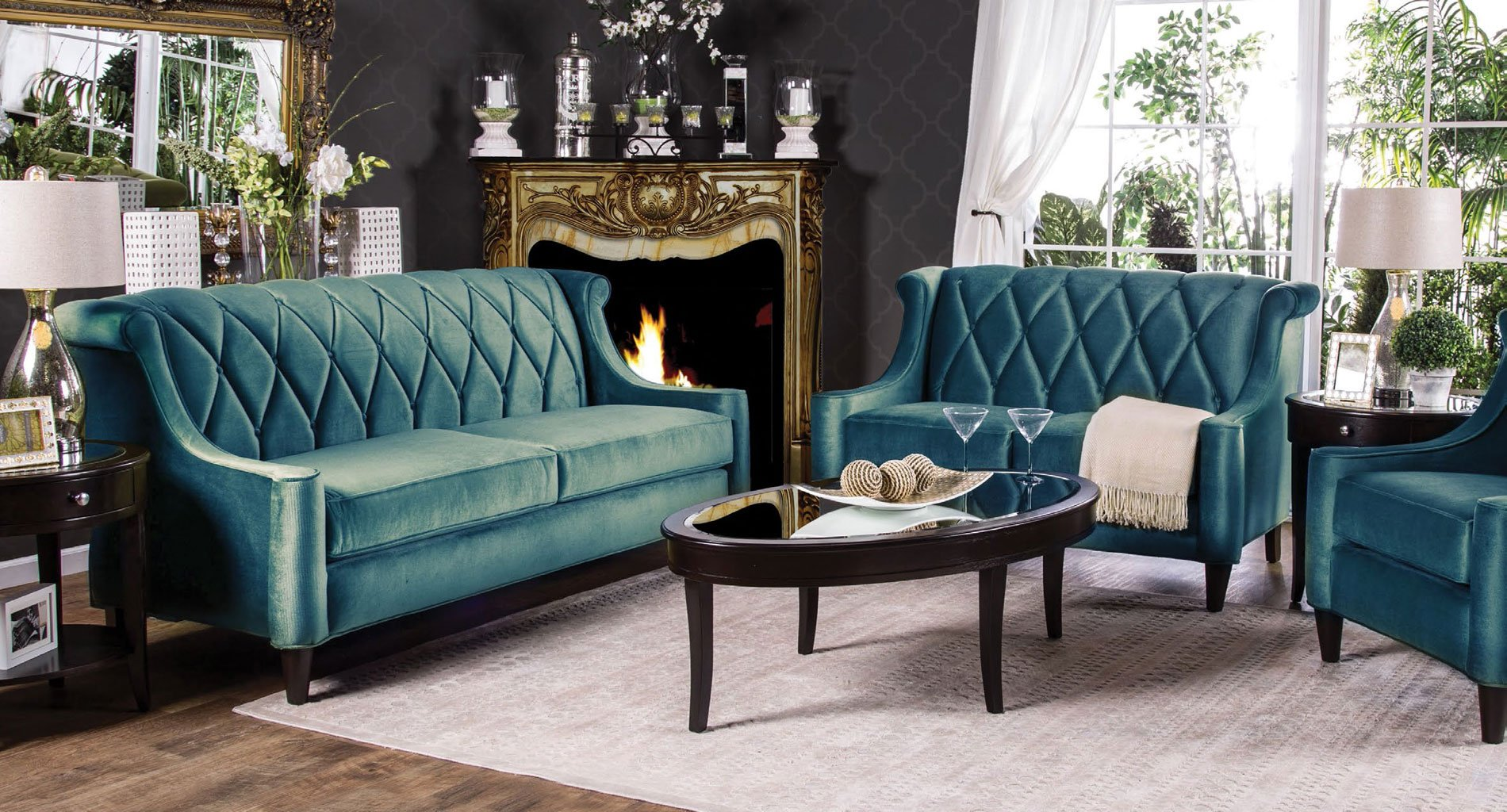 Limerick Living Room Set Dark Teal