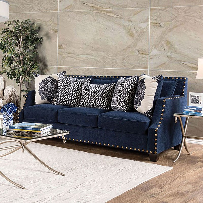Cornelia Sofa (Navy) Furniture Of America, 1 Reviews | Furniture Cart