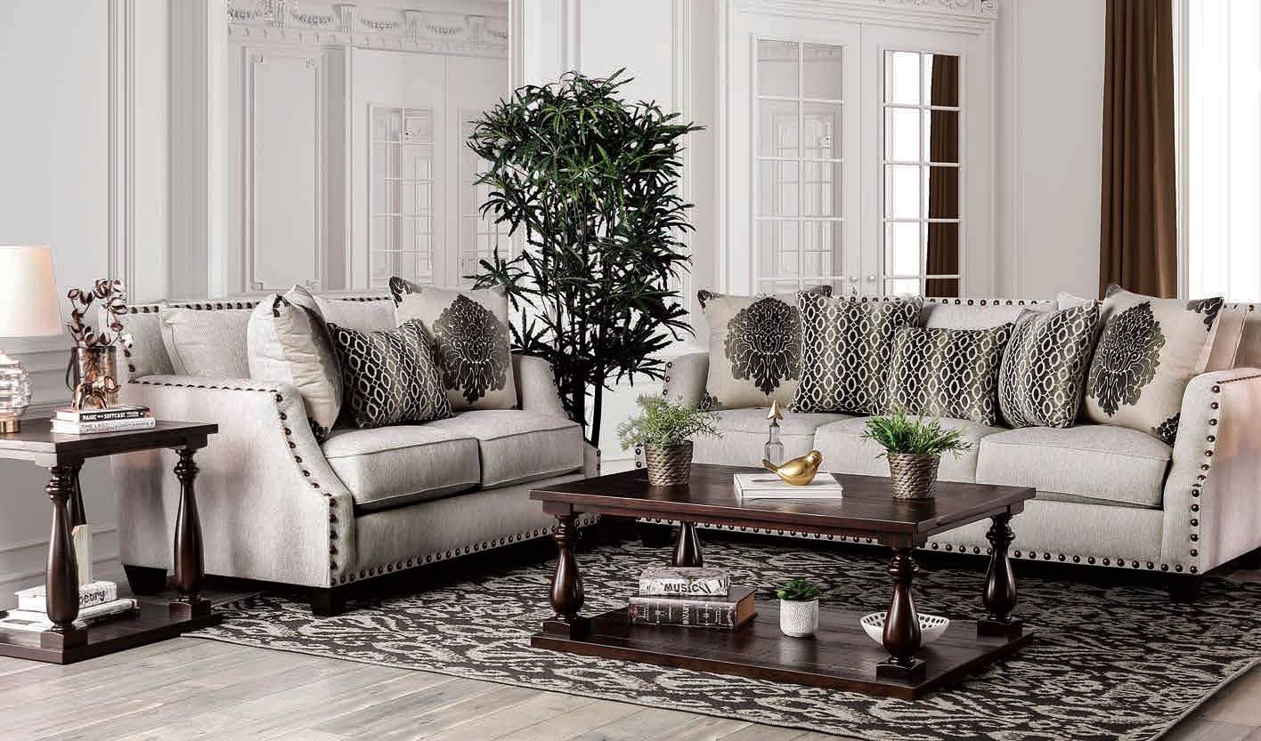 Cornelia Living Room Set Beige Furniture Of America 1