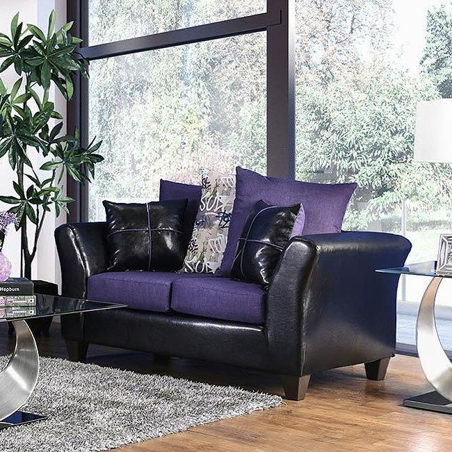 Kaelyn Loveseat (Black / Purple) Furniture Of America