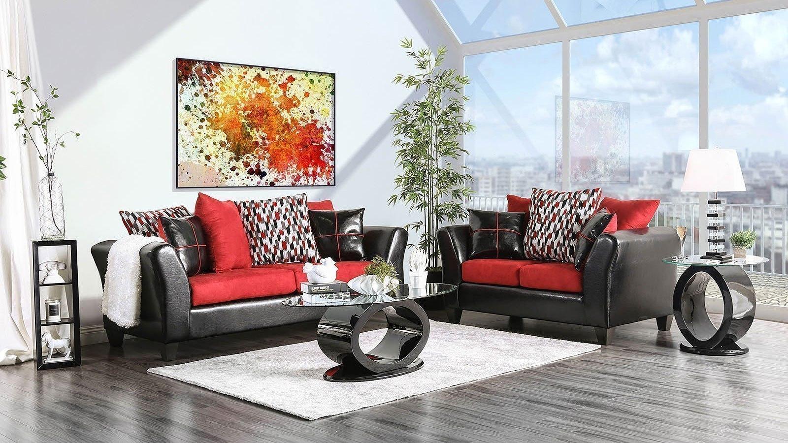 braelyn living room set black red furniture of america furniture cart. Black Bedroom Furniture Sets. Home Design Ideas