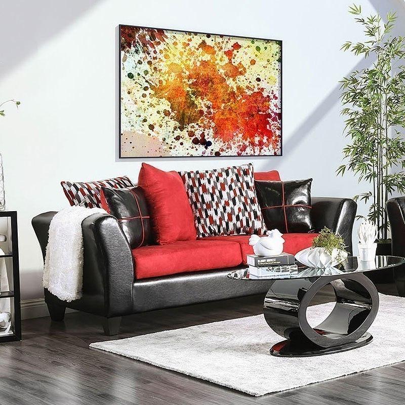 Braelyn Sofa Black Red Furniture Of America Cart
