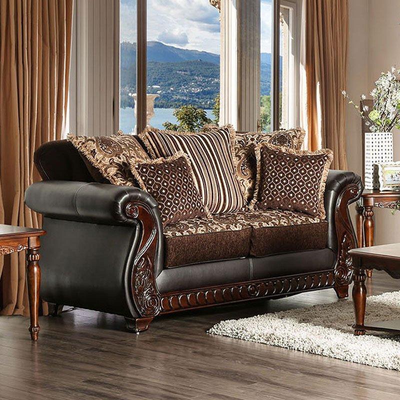 Franklin Living Room Set (Dark Brown) Furniture Of America