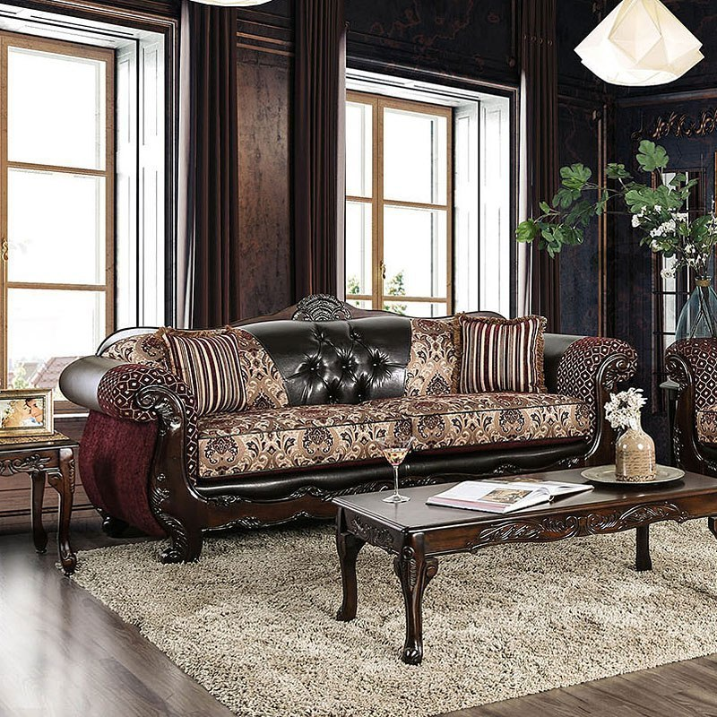 Quirino Living Room Set (Burgundy / Dark Brown) Furniture
