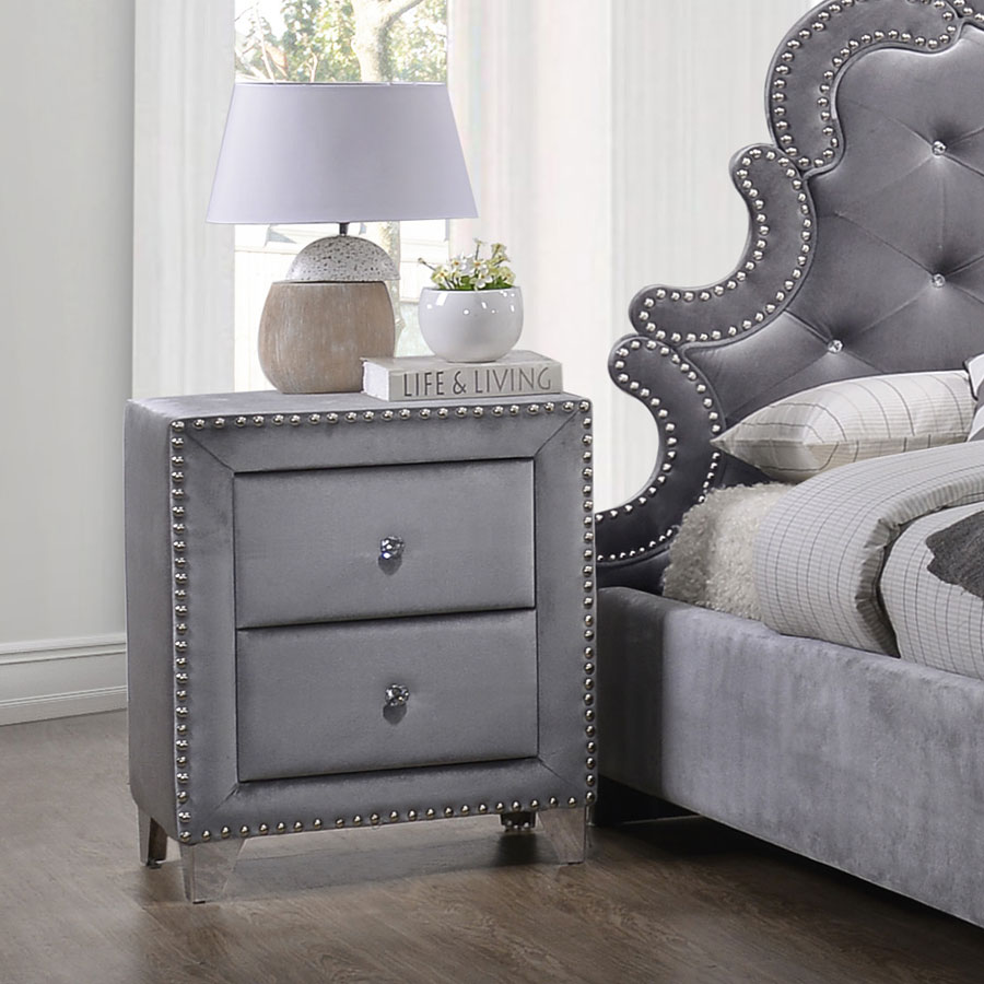 Ashley Furniture Meridian Idaho: Sophie Upholstered Nightstand (Grey) Meridian Furniture