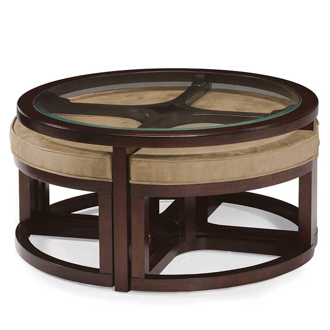 Juniper Round Cocktail Table W Stools Magnussen Furniture Cart - Cocktail table with 4 stools