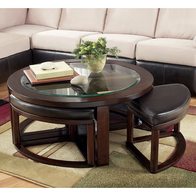 Marion Cocktail Table w/ 4 Backless Stools