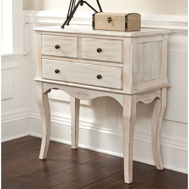 Cottage Accents Console w/ 3 Drawers (Chipped White)
