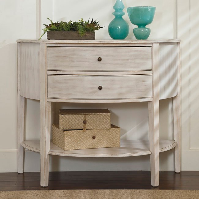 Cottage Accents Console w/ 2 Drawers (Chipped White)