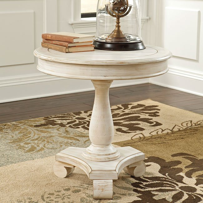 Cottage Accents Round Accent Table (Chipped White)