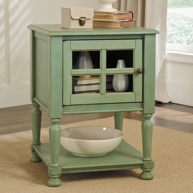 Cottage Accents Chairside End Table (Green)