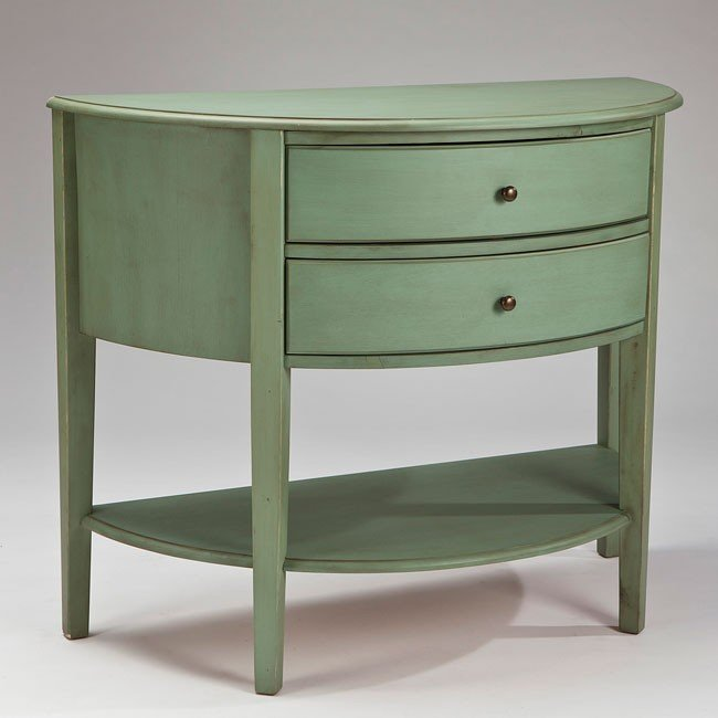 Cottage Accents Console w/ 2 Drawers (Green)