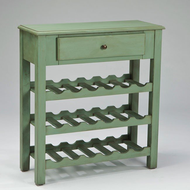 Cottage Accents Console w/ Wine Rack (Green)