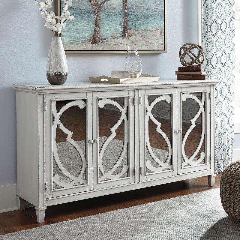 Mirimyn Antique White Accent Cabinet W/ Filigree Doors