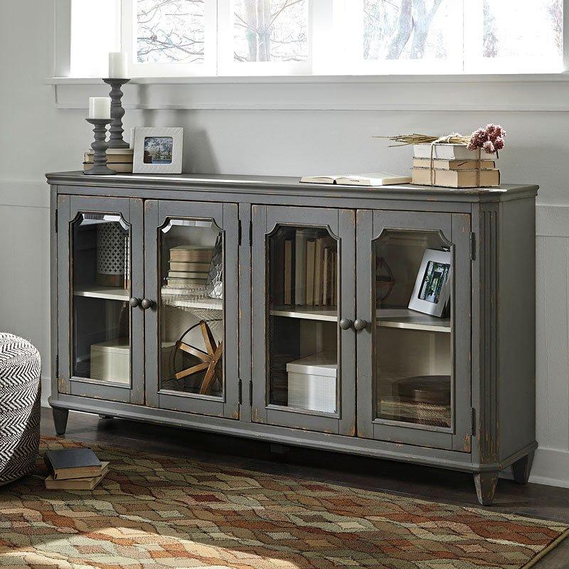 Mirimyn Antique Gray Accent Cabinet w/ 4 Doors