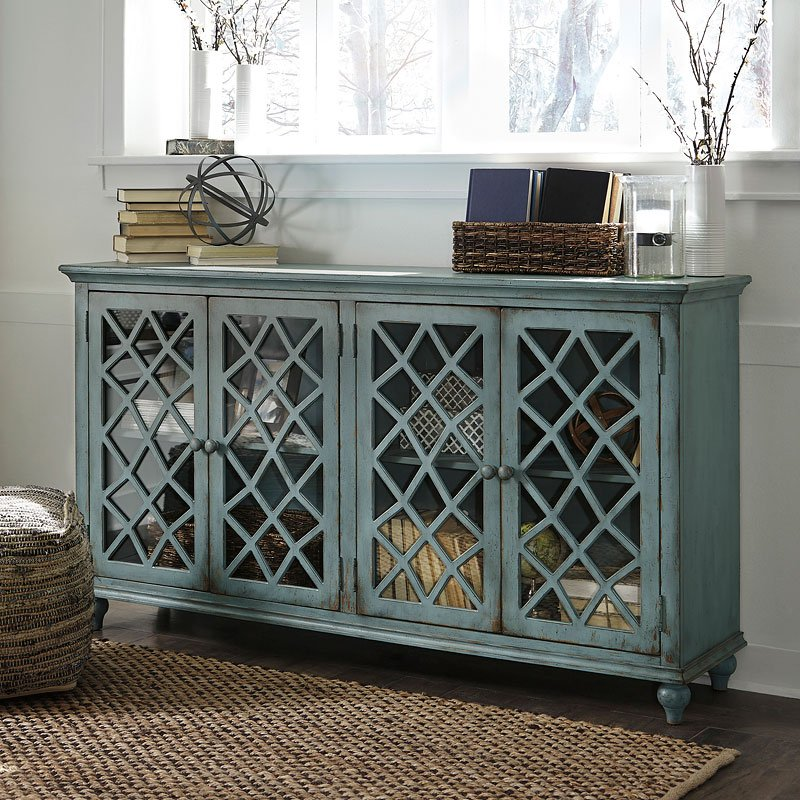 Mirimyn Antique Teal Accent Cabinet w/ 4 Doors