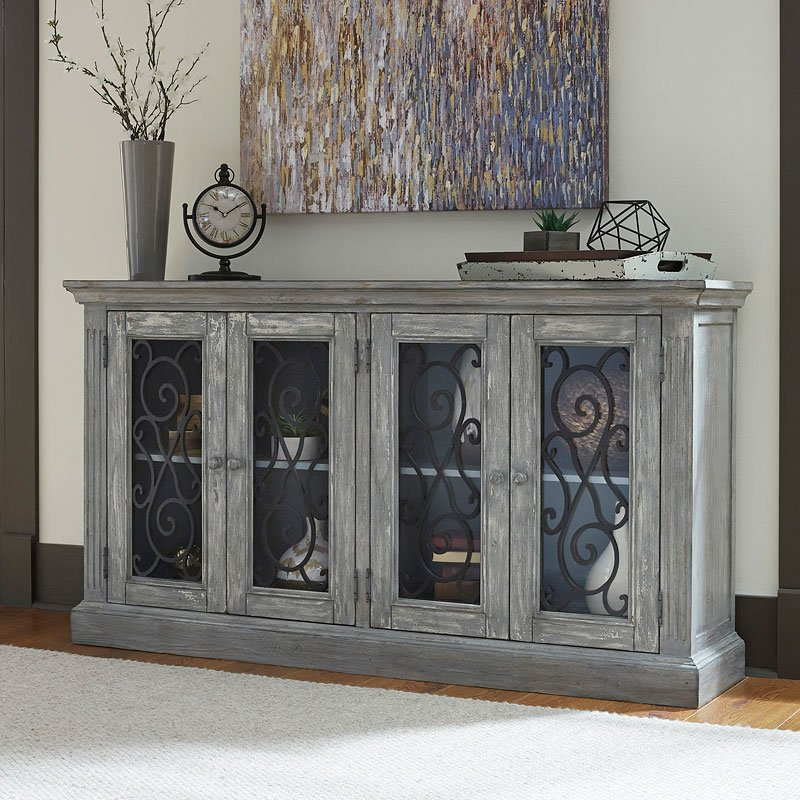 Mirimyn Antique Chipped Gray Accent Cabinet