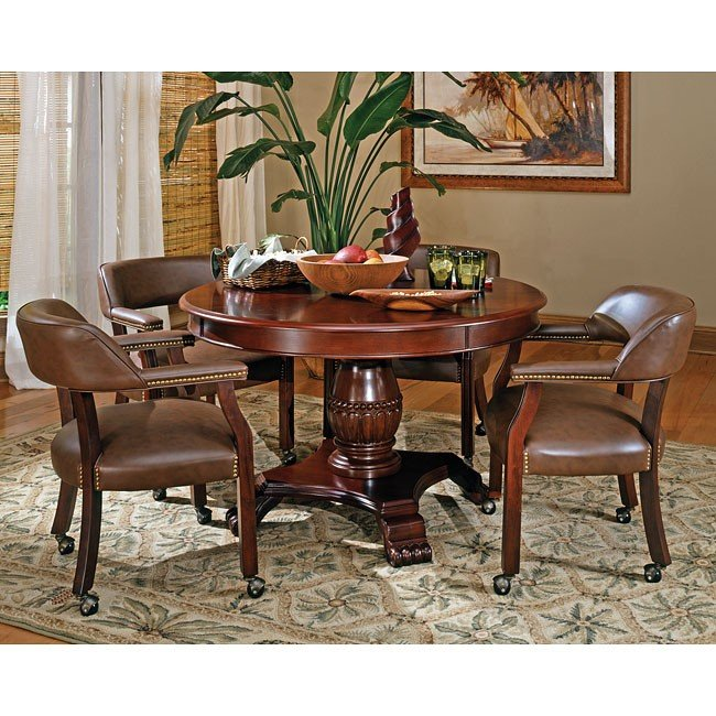 Tournament Table Set W Brown Chairs