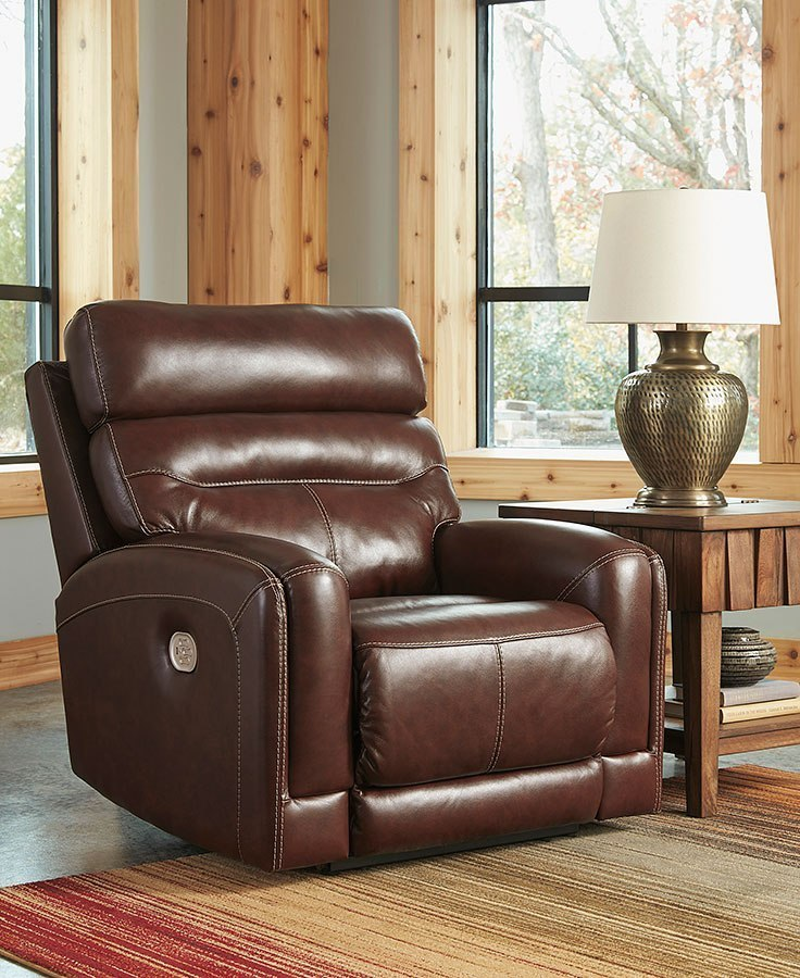 b32ac6ecf7 Sessom Walnut Power Recliner W/ Adjustable Headrest Signature Design |  Furniture Cart