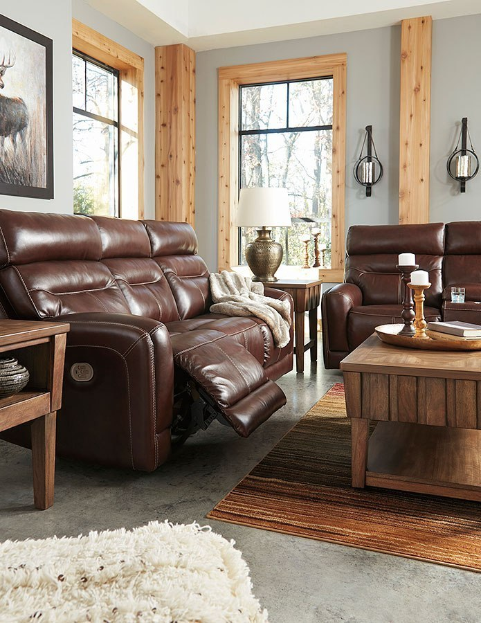 e469d53dda Sessom Walnut Power Reclining Living Room Set w/ Adjustable Headrests. Part  of the Sessom Collection by Signature Design by Ashley Furniture