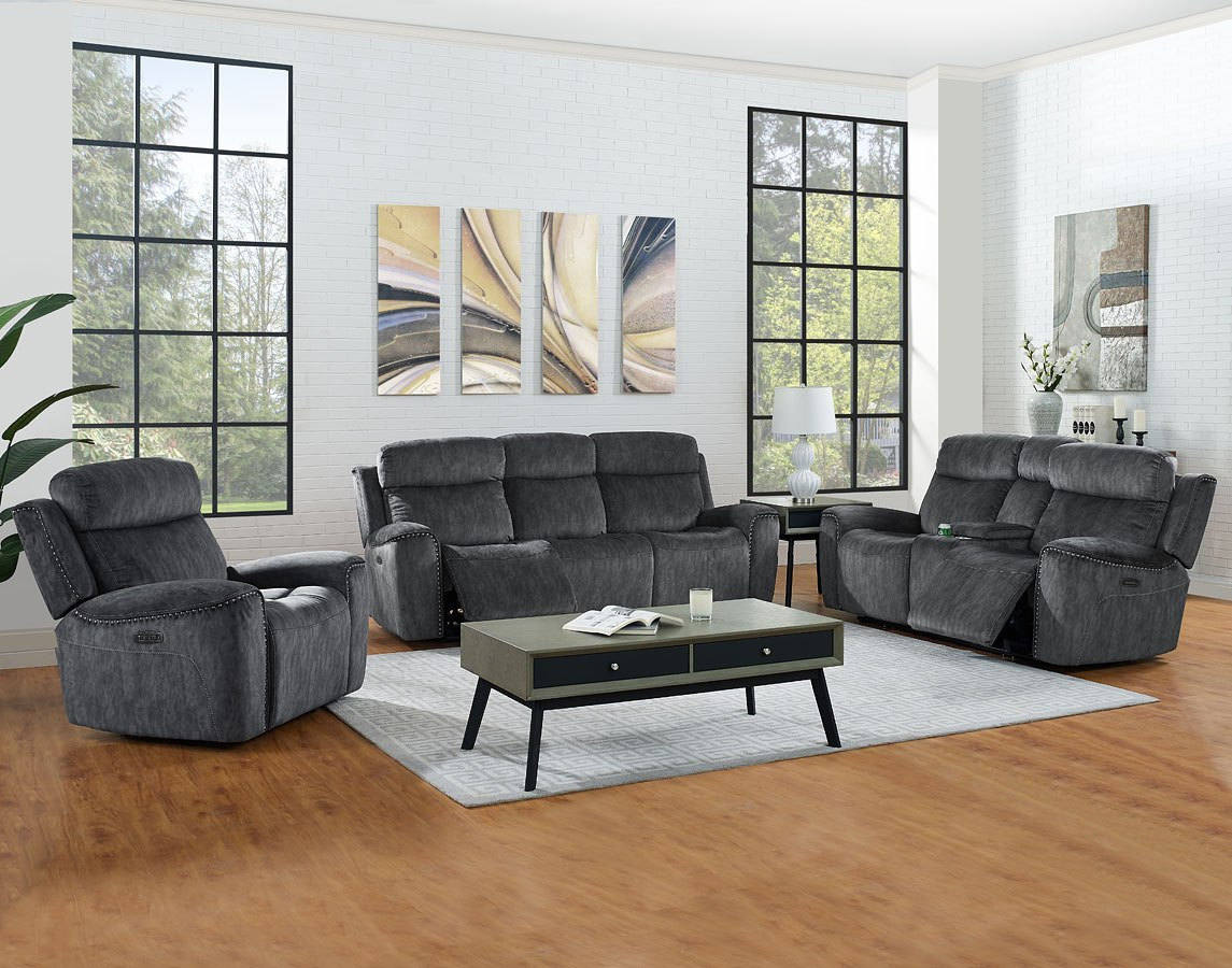 Kagan Power Reclining Living Room Set w/ Power Headrests and Lumbar (Shadow)